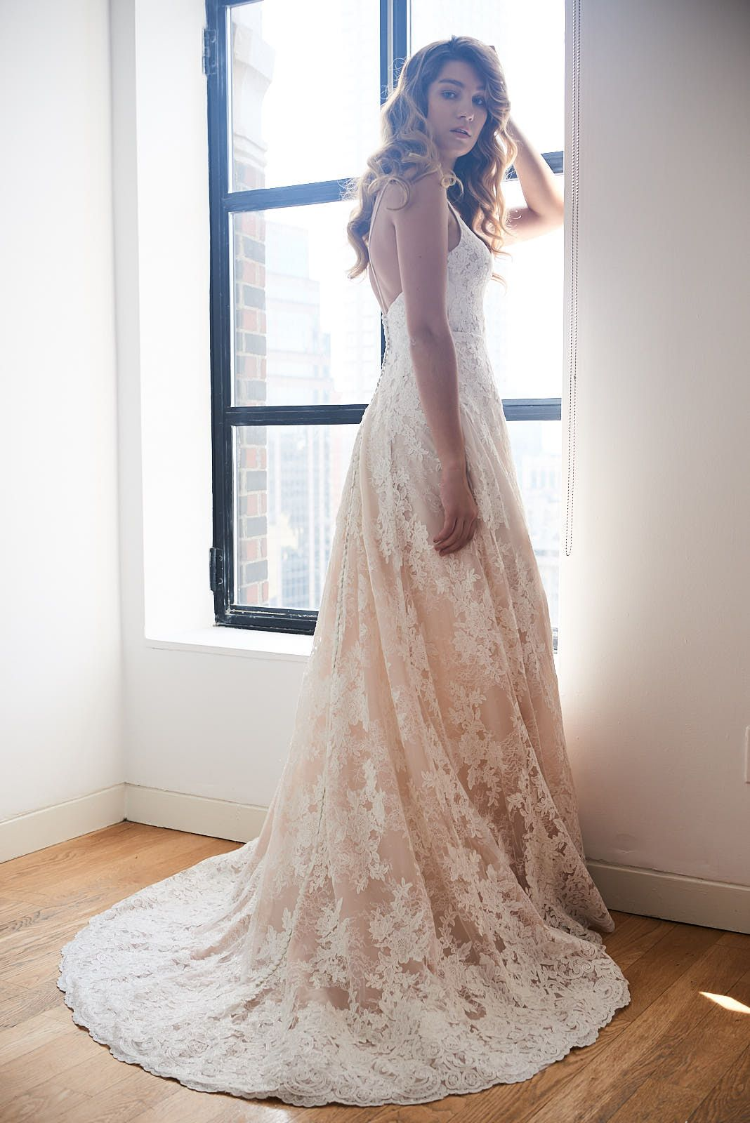 Red lace wedding dress october 2018 Maia wedding dress by Kelly Faetanini  Chantilly lace and