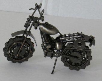 Handmade 19 Cm Metal Motorcycle Bike Wall Art Sculpture Harley Davidson  Home Office Decor Christmas Birthday