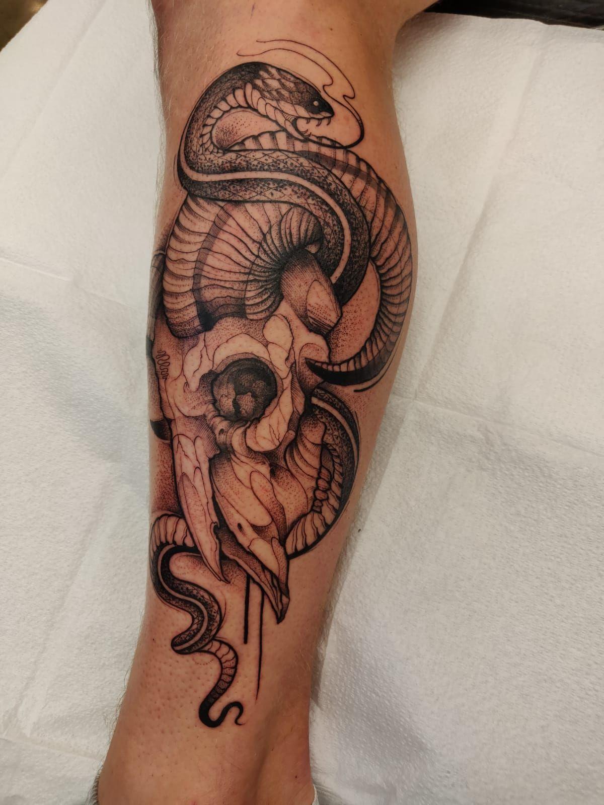 Ram Skull And Snake By Sebastian At Chronic Ink Tattoos Toronto Tattoos Ram Skull Ink Tattoo
