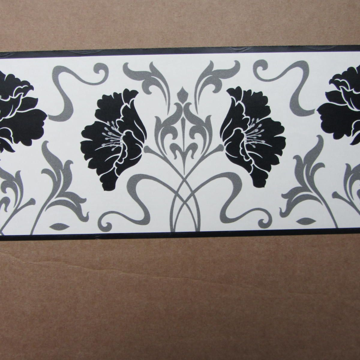Modern Floral Damask Black White Wallpaper Border Self