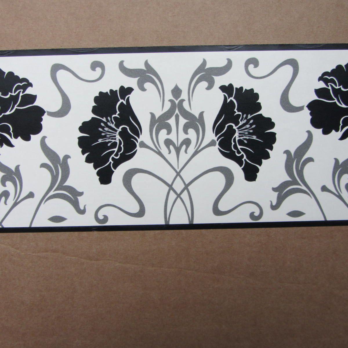 Best Modern Floral Damask Black White Wallpaper Border Self 640 x 480