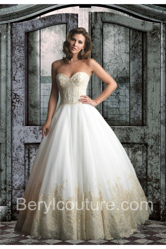 Ball Gown Sweetheart Two Color White Tulle Gold Lace Wedding Dress