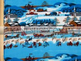 Флис бело-голубой с принтом зимняя улица