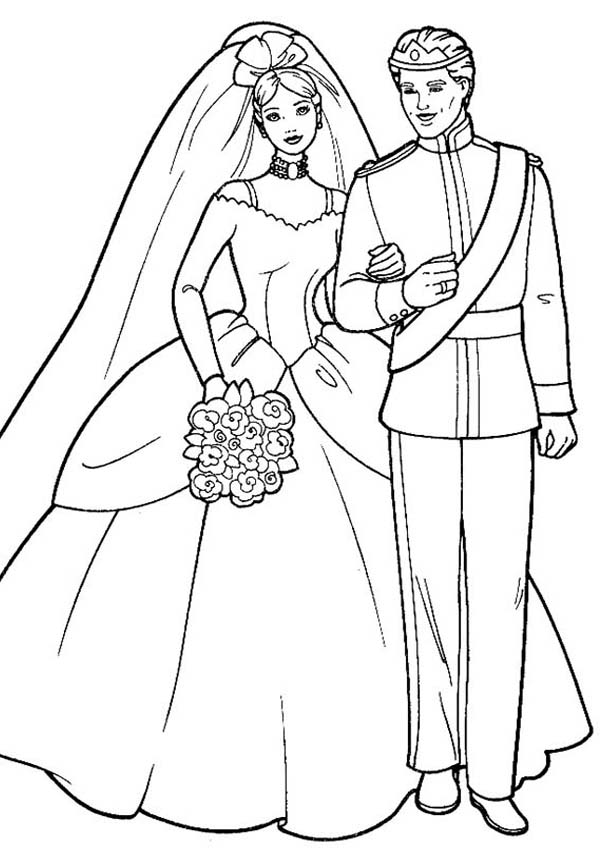 Barbie And Ken In Wedding Ceremony Coloring Page Coloring Sun Wedding Coloring Pages Barbie Coloring Barbie Coloring Pages