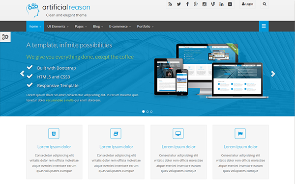 Bootstrap Website Templates Artificial Reason  Responsive Full Pack  Bootstrap Samples