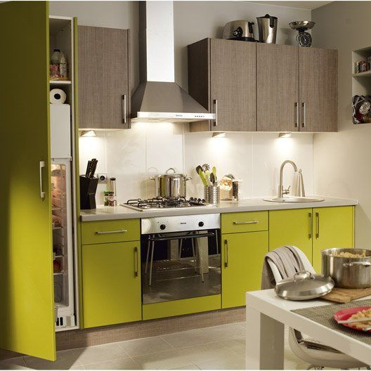 Meuble de cuisine vert DELINIA Topaze Chez nous! Pinterest - cuisine verte et blanche
