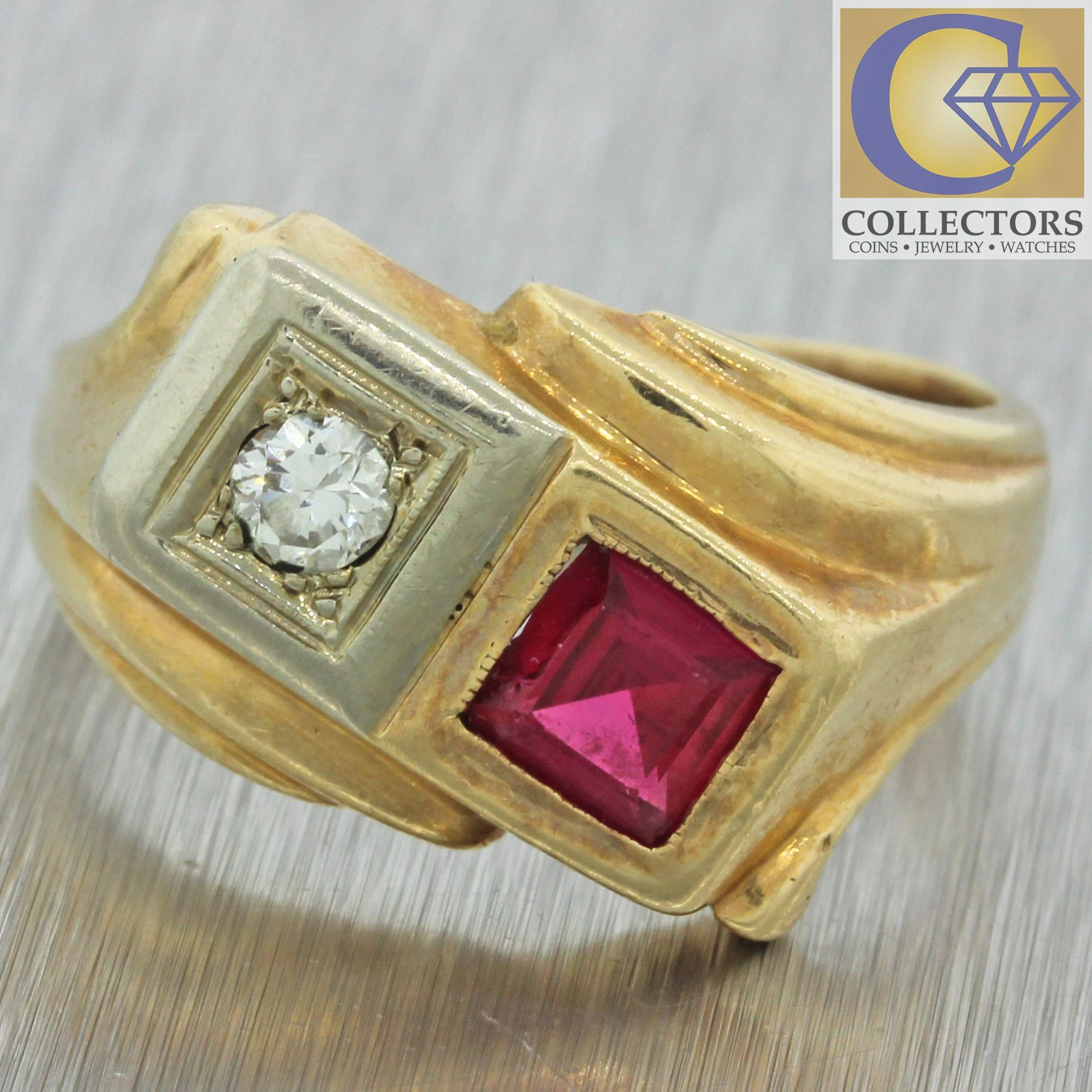 1940s Antique Art Deco 14k Solid Yellow Gold .40ct Ruby .10ct Diamond Band Ring