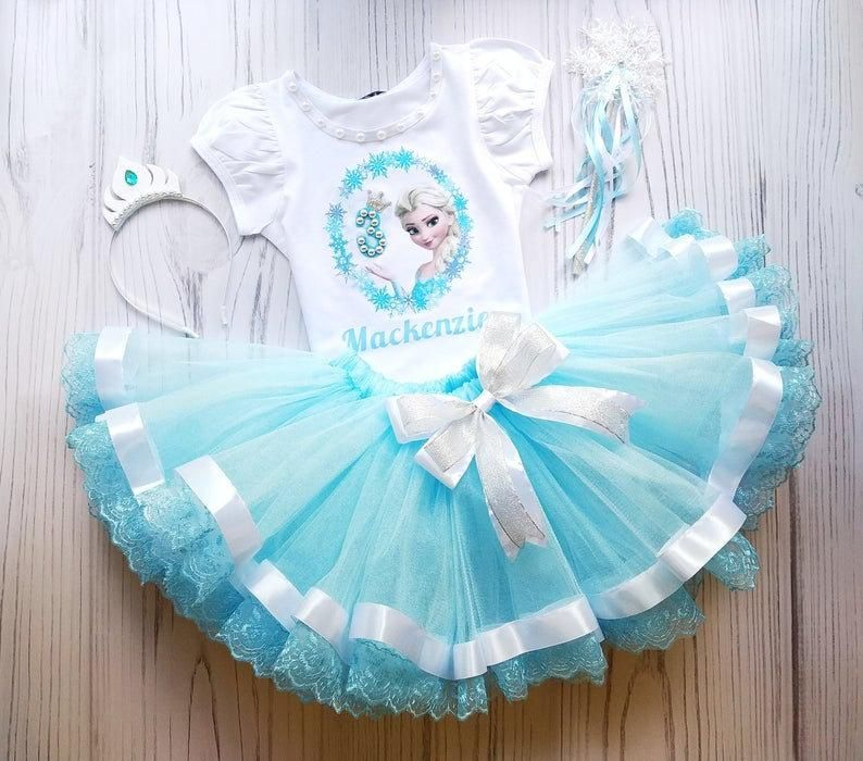 Princess  Tutu Outfit For 3rd Birthday Light Blue Tutu For Girls Outfit with Crown Girls Costume Bir