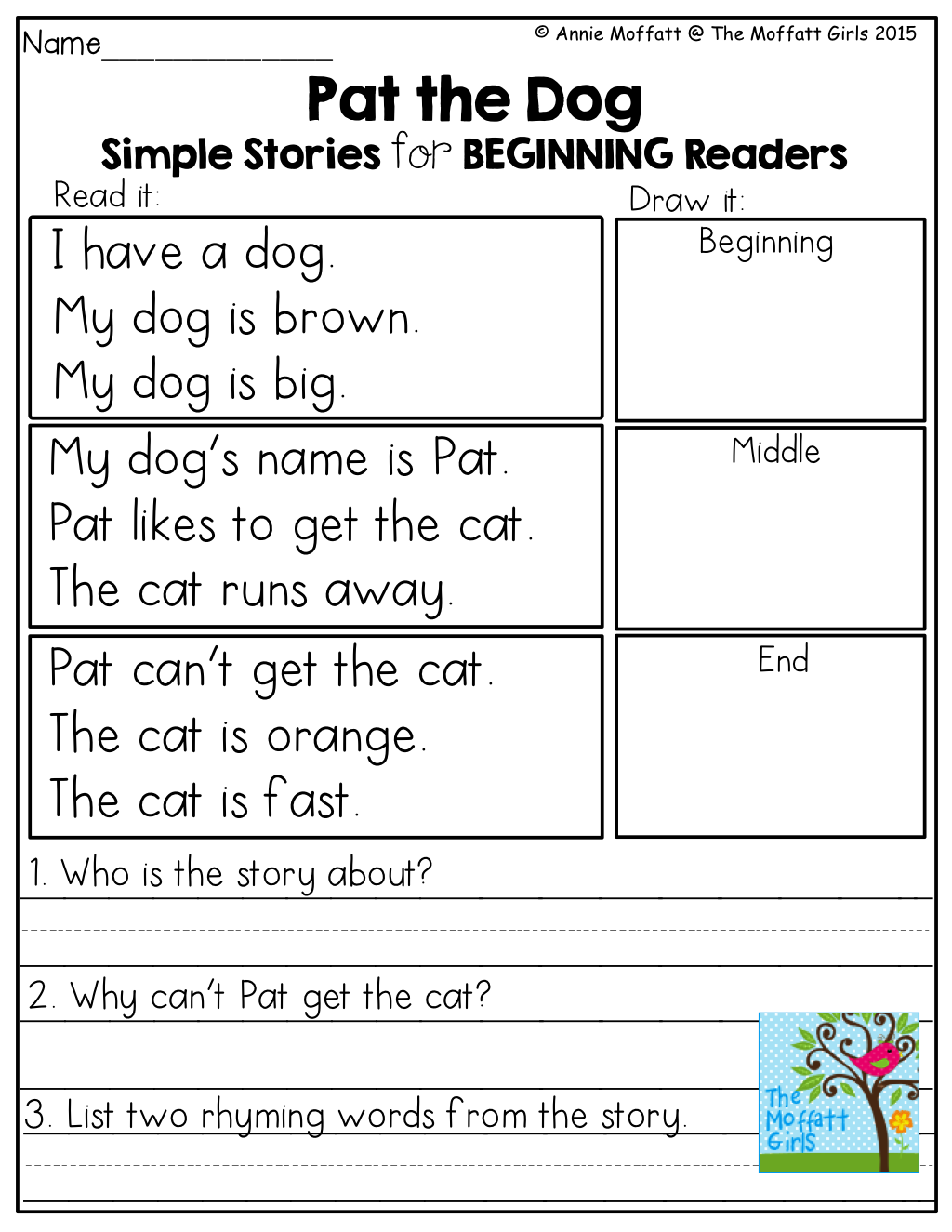 Simple Stories For Beginning Readers Read The Story And Show Comprehension By Drawing Pictures