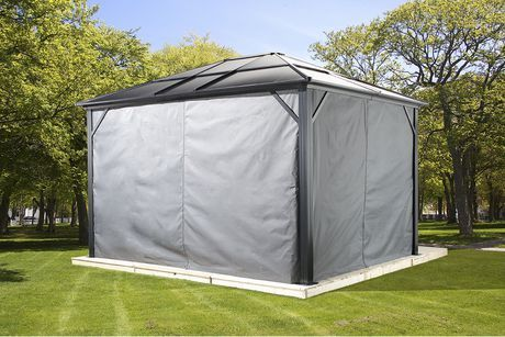Sojag Meridien Gazebo Privacy Curtains Grey 10 X 14 Ft Hardtop Gazebo Gazebo Outdoor Gazebos