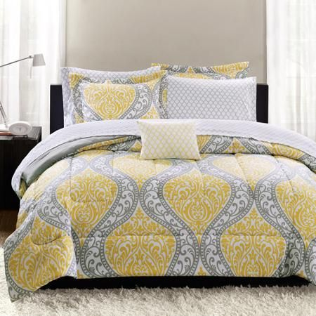 Mainstays Yellow Damask 6 Piece Bed In A Bag Bedding Set Twin