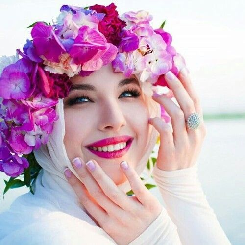 Hijab with a wild amazing floral wreath