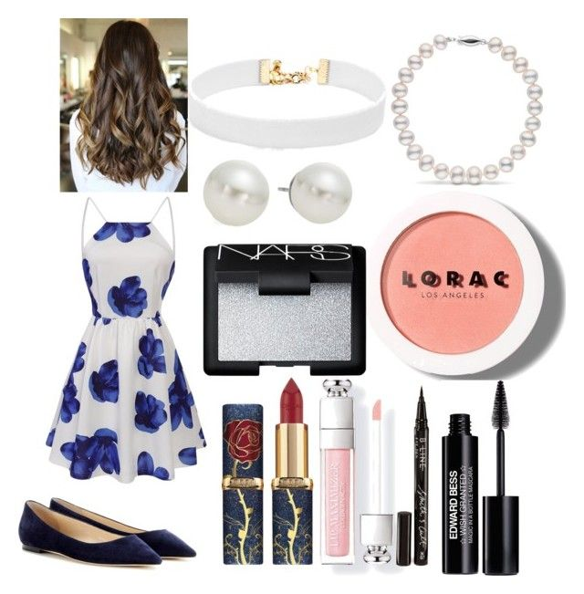"""Blue floral"" by marvi-reyad ❤ liked on Polyvore featuring Jimmy Choo, Vanessa Mooney, AK Anne Klein, LORAC, NARS Cosmetics, Edward Bess and Smith & Cult"