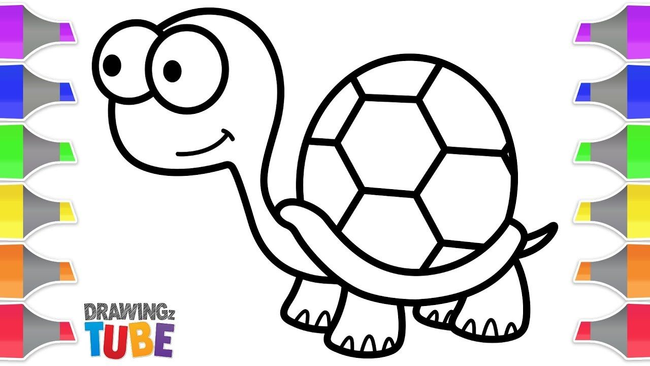 Cute Turtle Coloring And Drawing For Kids Drawing For Kids