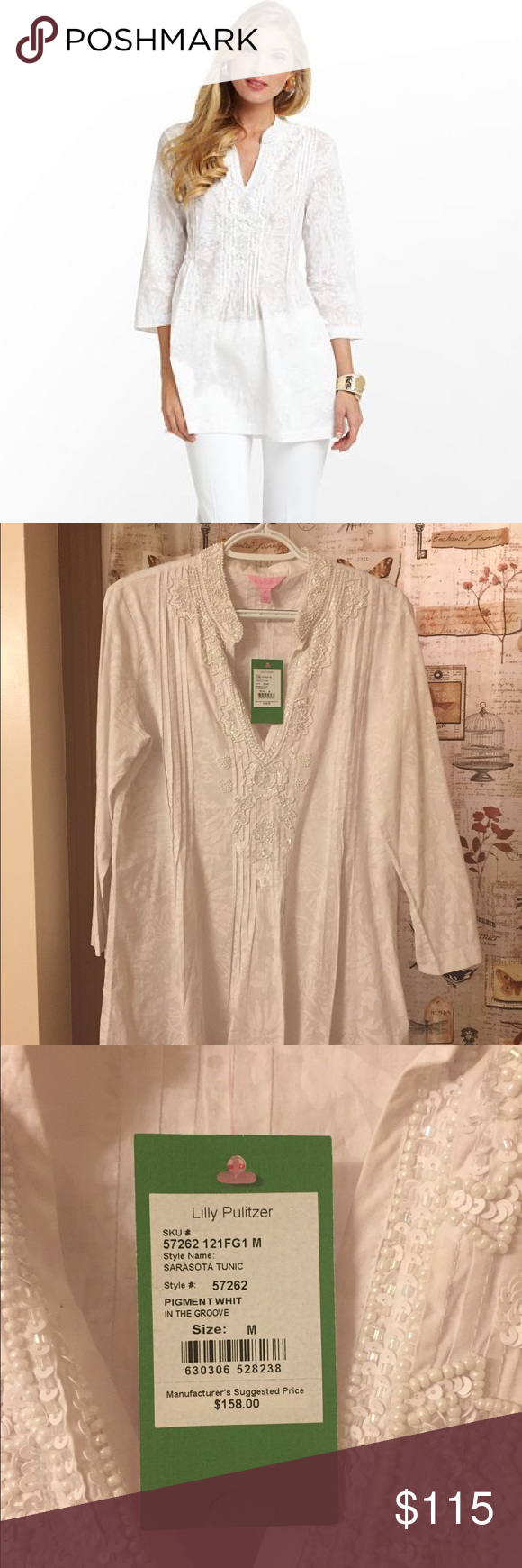 Lilly Pulitzer white sarasota tunic Brand new with tags, size medium. Very pretty and gorgeous beading detail. Pet free and smoke free home. Lilly Pulitzer Tops Tunics