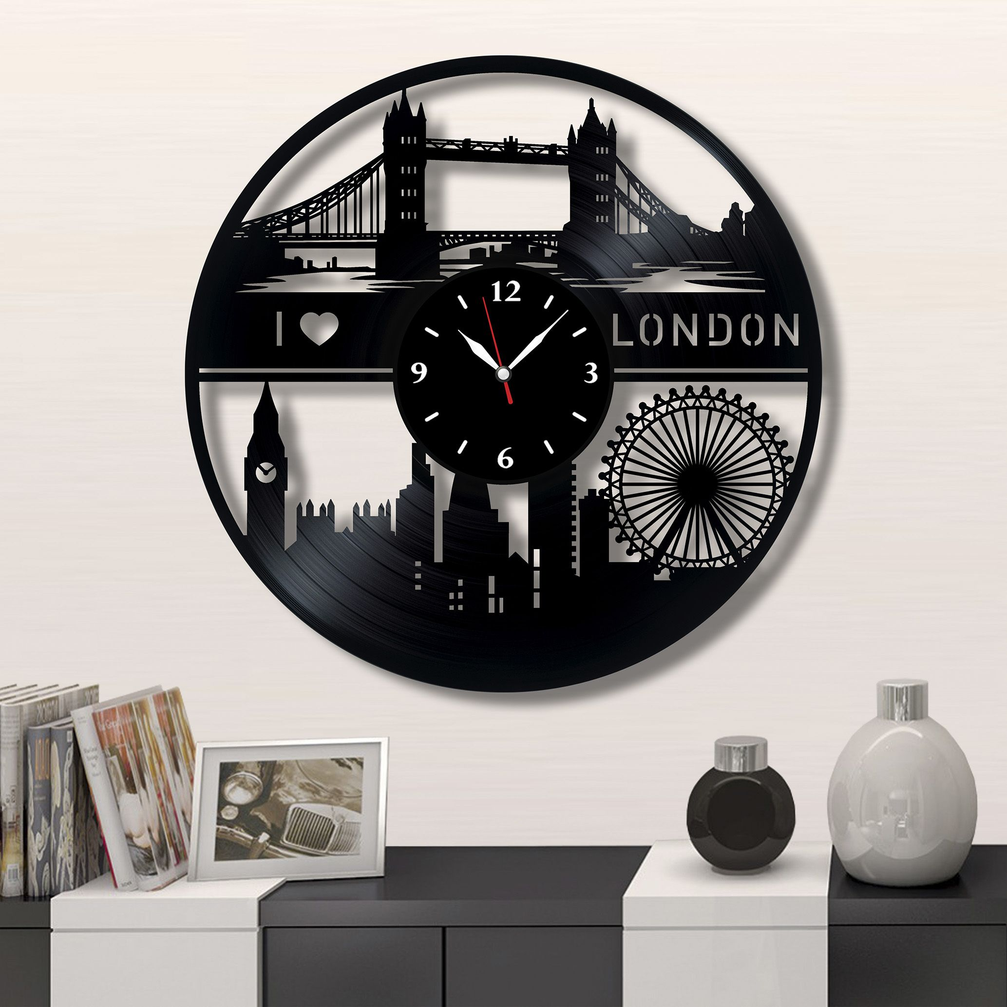 london city wall vinyl record clock best gift for home decor