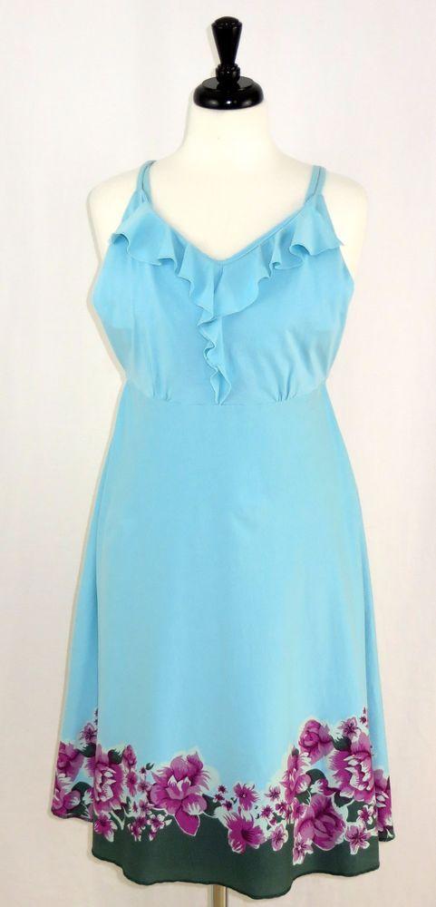 Patagonia Organic Cotton Blend Kamala Dress Blue Floral M