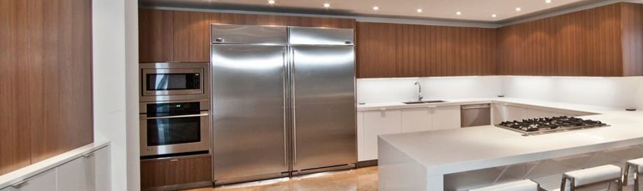 Modern Two Tone Kitchen With Our Qtrd Black Walnut Wood Veneer Upper  Cabinets And White
