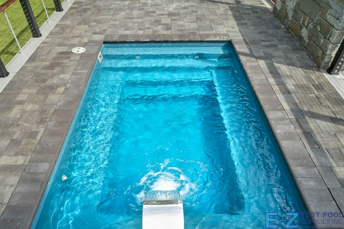 A fiberglass plunge pool has dimensions which are smaller