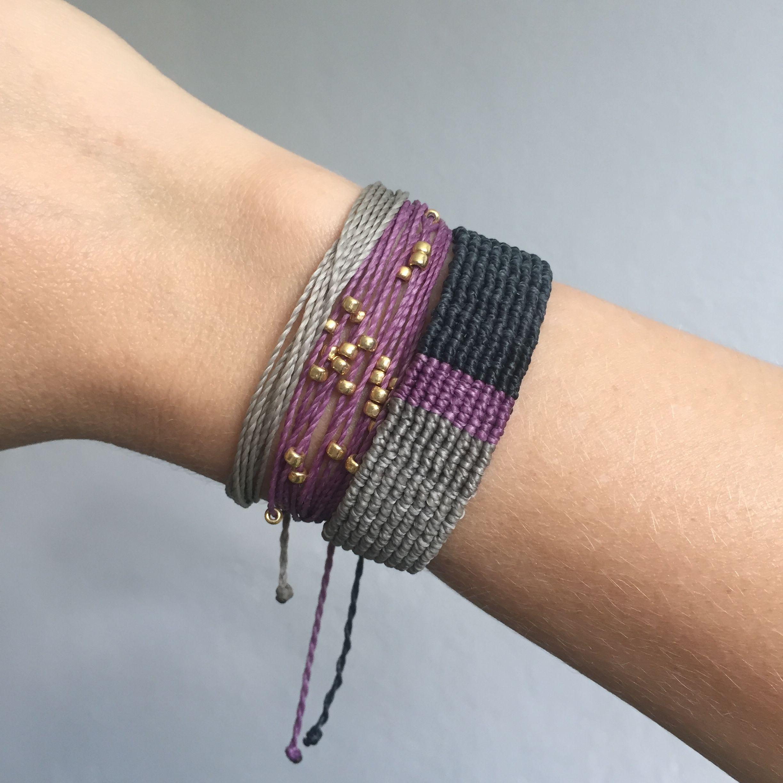 Macrame String Bracelet Set Lavender Purple Grey Costa Verde