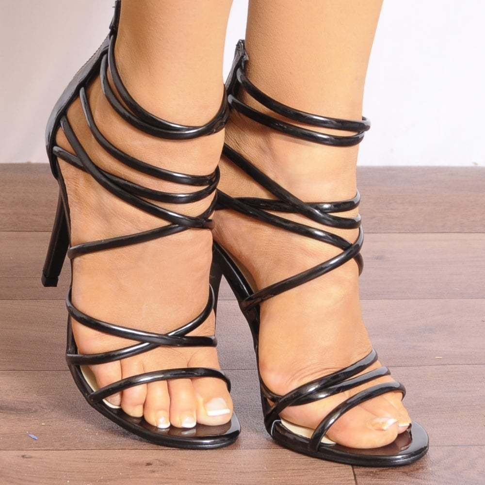 85df3b524aa Nude Patent Knotted Strappy Sandals High Heels Peep Toes Stilettos Shoes  Size