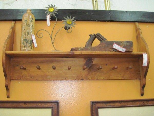 Coat Rack Pine Wall Hanging 8 Peg w/ Shelf 3