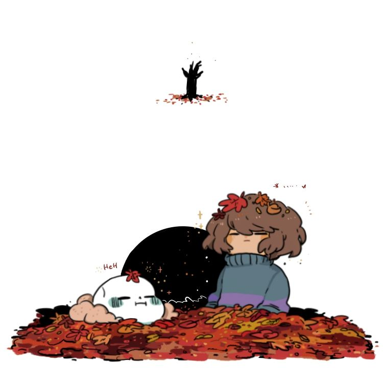 Tiny sans and frisk in leaf piles! - Request!