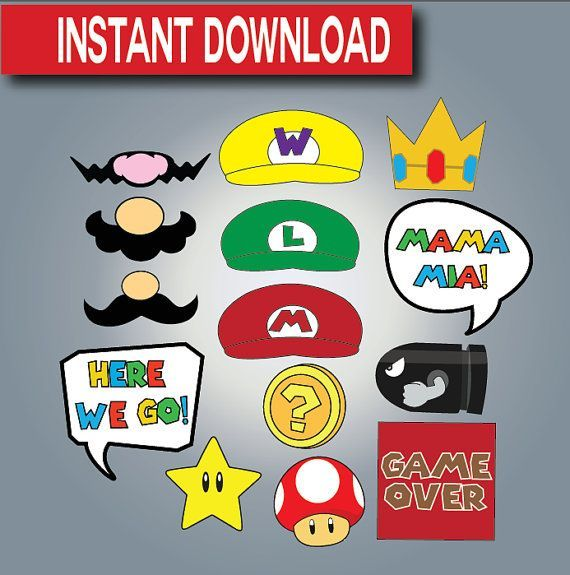 super mario photo booth props instant download by. Black Bedroom Furniture Sets. Home Design Ideas