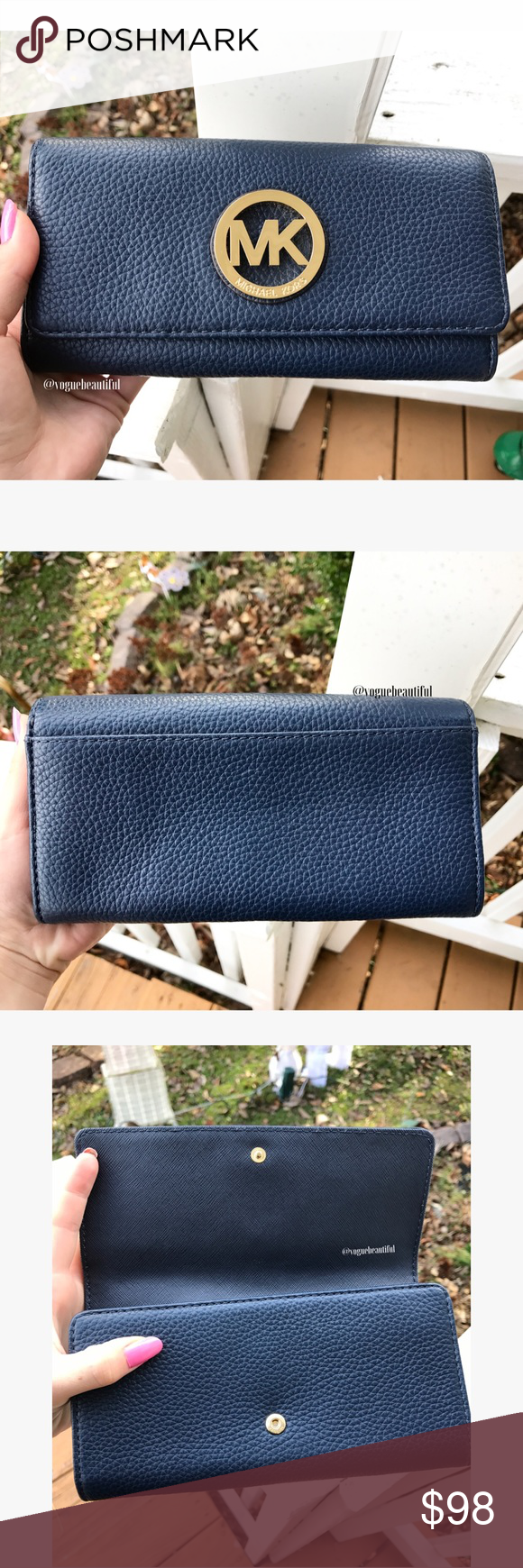 ef77338b495b Michael Kors Fulton Leather Carryall Wallet Navy Soft Venus leather shapes  this sleek wallet design fronted by a medallion plaque. Outfitted with  plenty of ...