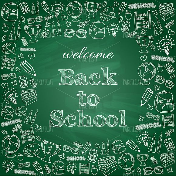 Welcome back to school card by PaketeCat on @creativemarket
