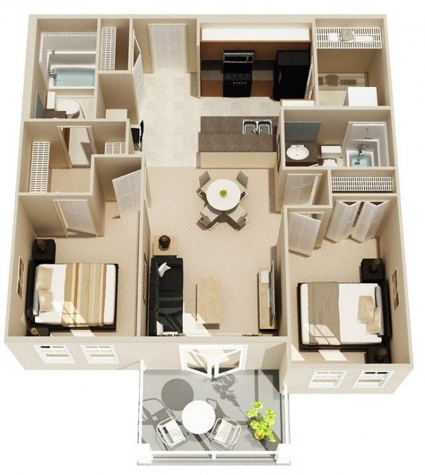 2 Bedroom Apartment Interior Design Two Bedrooms  Minihouse  Pinterest  Bedrooms Room And House