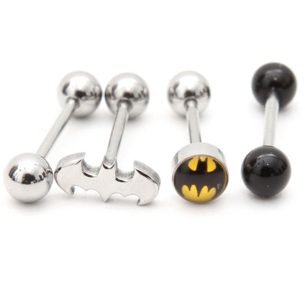 Dc Comics 14g Batman Logo Barbell 4 Pack Hot Topic 15 Liked On Polyvore Featuring Jewelry Piercings Batman A Cool Piercings Tongue Rings Body Jewelry