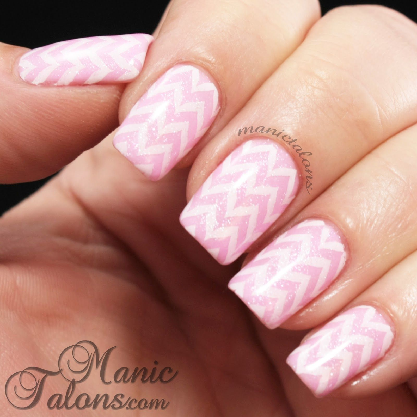 Lovely white on pink chevrons see more nail designs at