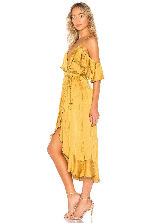 2503df7ca9 Bardot Bea Wrap Dress in Gold | REVOLVE | Fashion | Dresses, Wrap ...
