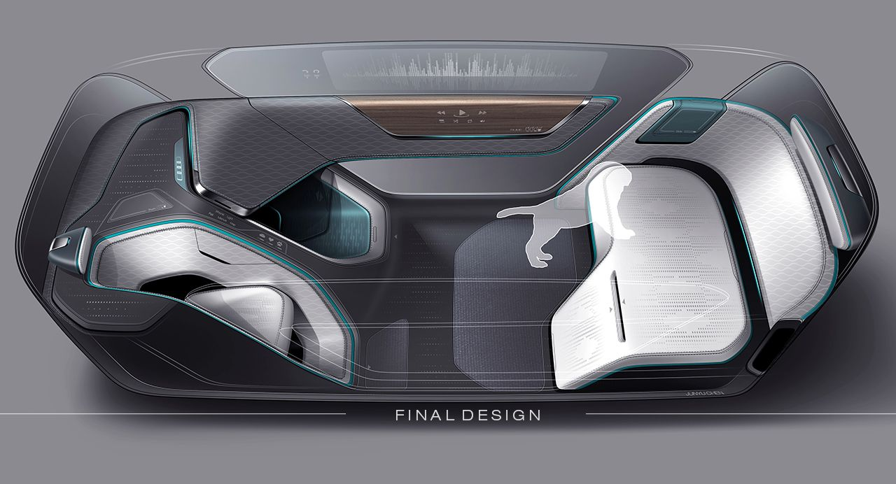 Autonomous interior concept for pet transportation for Car interior decoration
