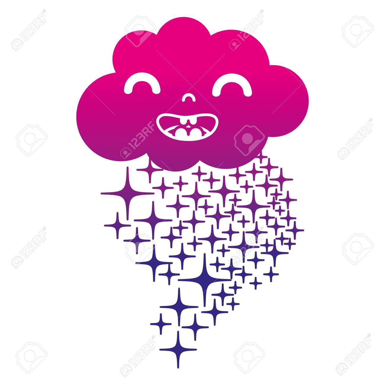 A silhouette happy cloud kawaii with stars rainbow vector illustration ,