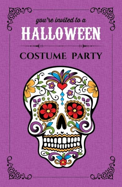 Day Of The Dead Skull Halloween Party Invite Halloween Themed Birthday Party Halloween Party Invitations Day Of The Dead Party