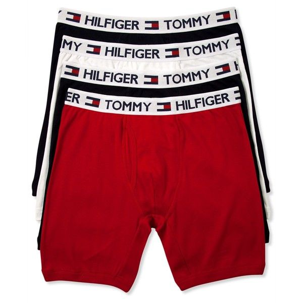 eb1d4c61cd09 Tommy Hilfiger Men's Underwear, Cotton Boxer Brief 4-Pack ($33) ❤ liked on Polyvore  featuring men's fashion, men's clothing, men's underwear, mens boxer ...
