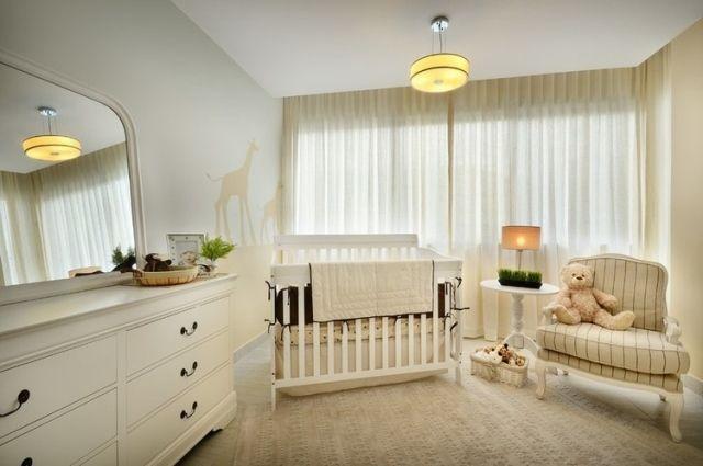 Hochwertig Babyzimmer Gestaltung Unisex Ecru Creme Giraffen Wandmuster