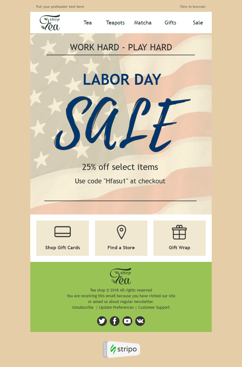 Labor Day Email Template Long Awaited Rest For Beverage Coffee Industry Email Templates Templates Day