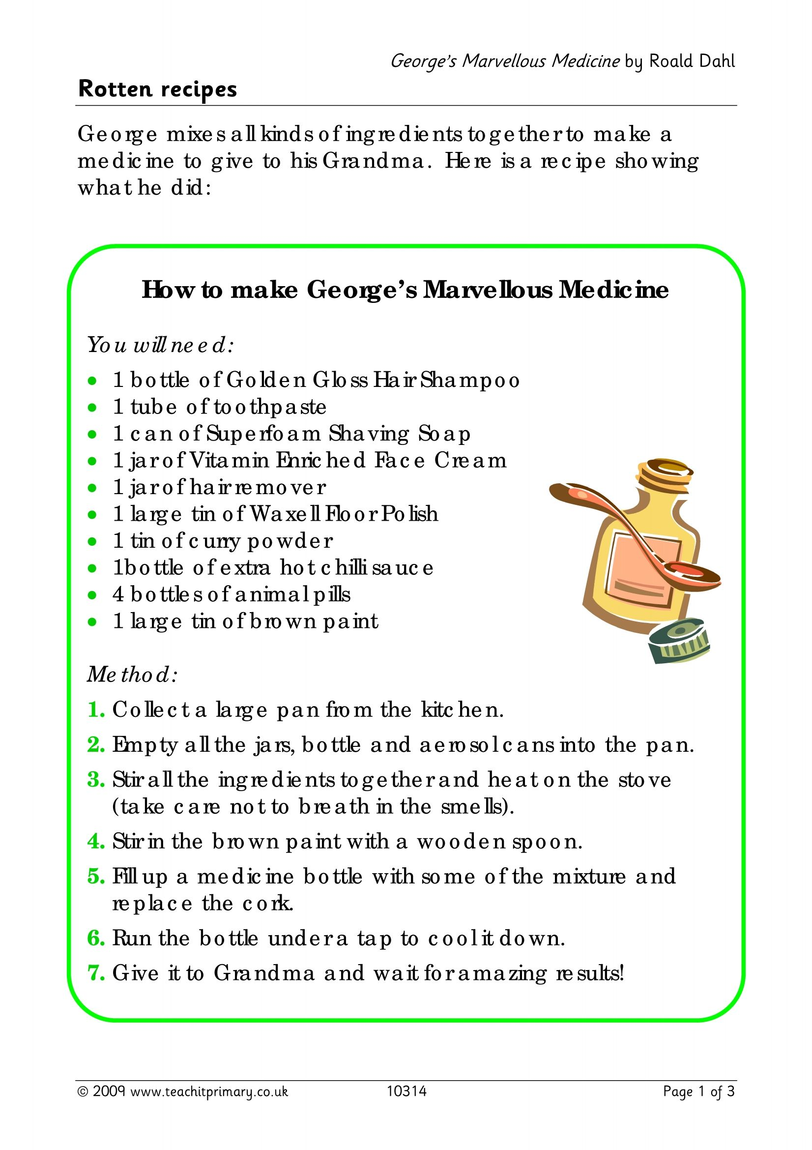 George\'s Marvellous Medicine - write a recipe | Roald dahl | Pinterest