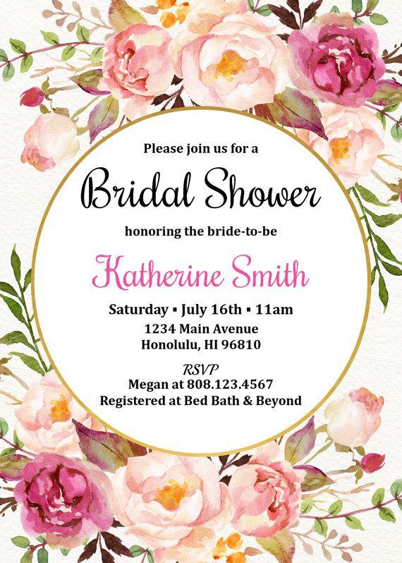 Shower the Bride Envelopes  Bridal Shower Vintage Blush Botanical Peony Bridal Shower Invitation  5x7 PRINTED Set of 10 Cards
