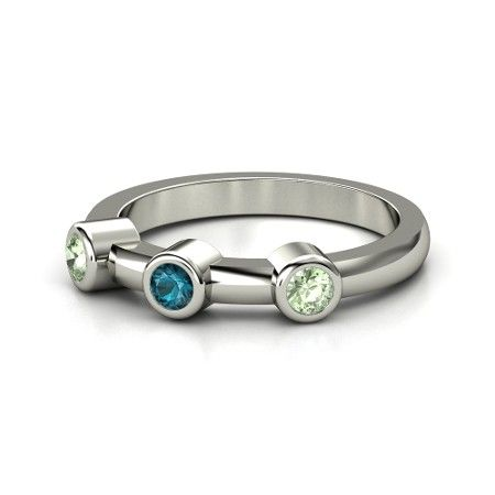 Round London Blue Sapphire Sterling Silver Ring with Green Amethyst