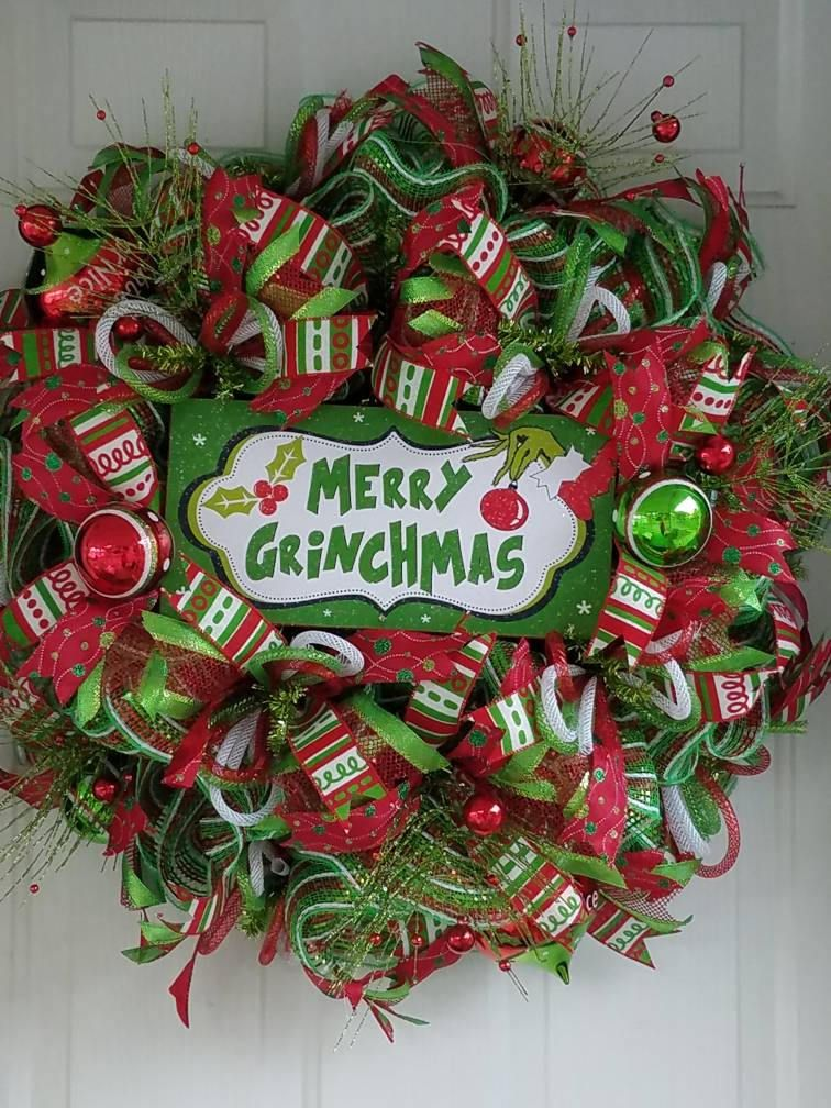 Merry Grinchmas Deco Mesh Wreath/Grinch Christmas Wreath/Christmas