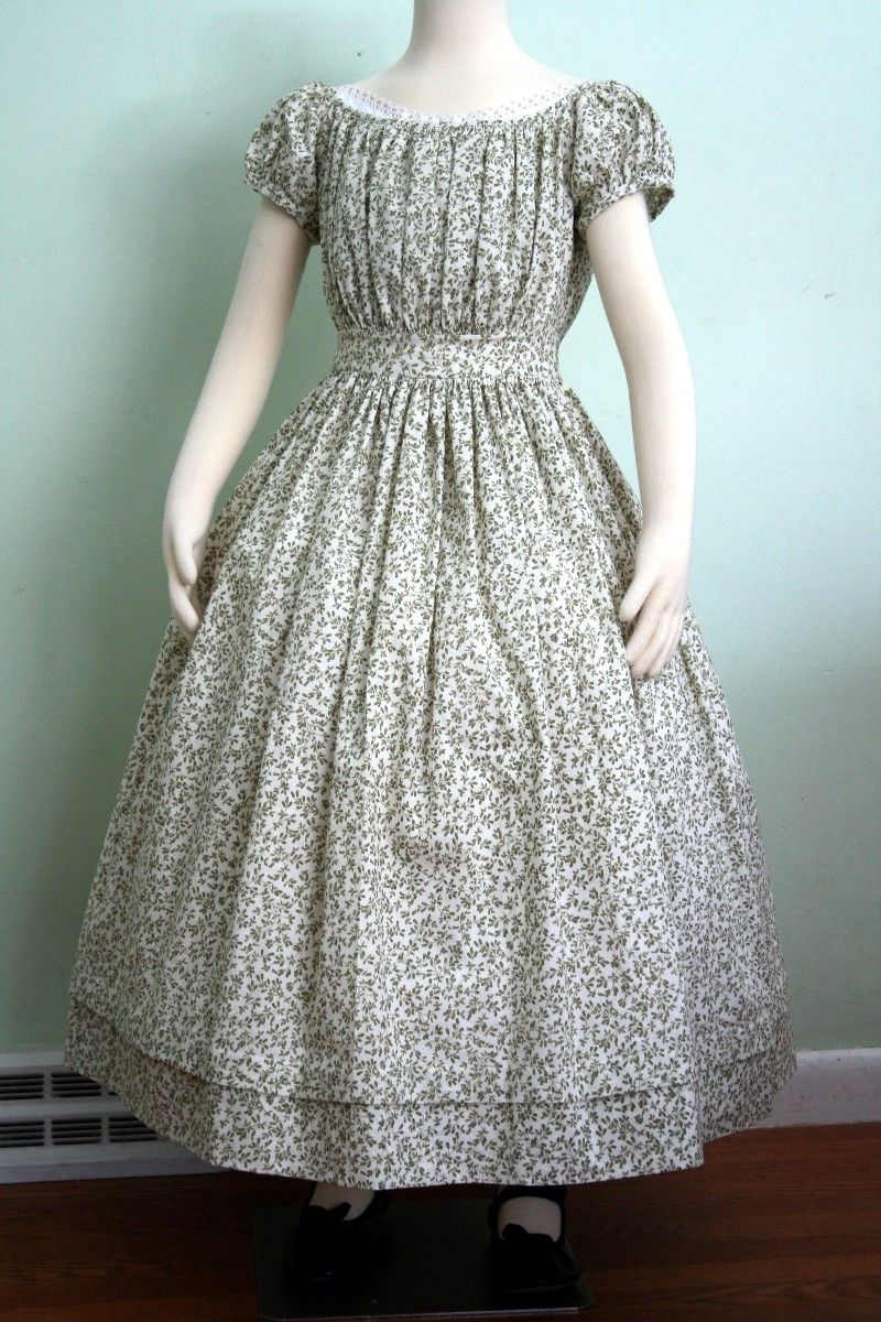 f5e76d1e67a0e Olive floral girls dress, mid 19th century by The Needleworker | Old ...