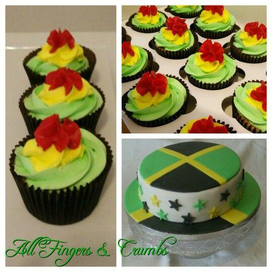 Jamaica themed cake and cupcakes redgoldgreen hiddensurprisecake