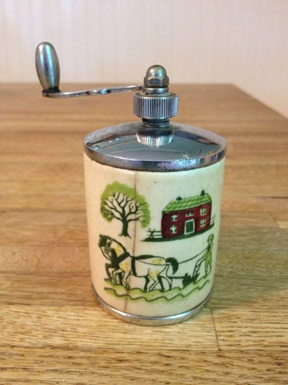 vintage ceramic pepper mill with an amish farm scene pinterest