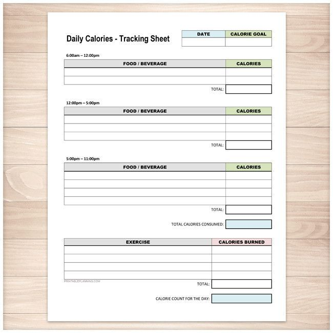 Daily Calories and Exercise Tracking Sheet - Printable at - workout tracking sheet