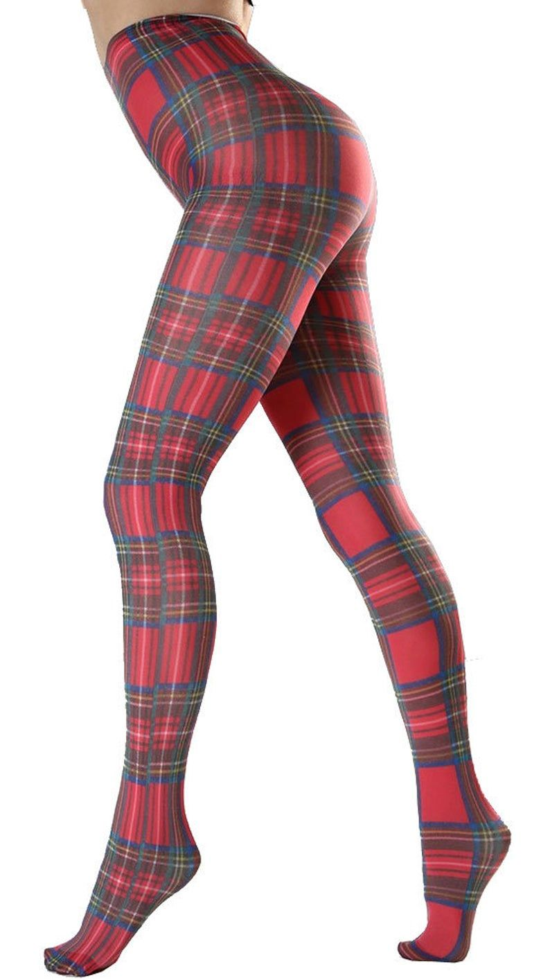 Red Plaid tartan patterned Tights | Womens opaque print pantyhose | Available in plus size | Gift for her