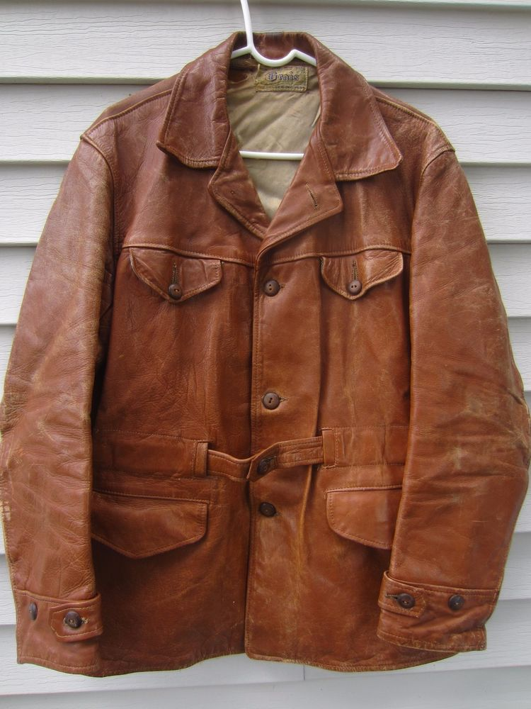 f60a4b6b8ed True Vintage Grais Brown Leather Jacket Horsehide 1940s 50s Weathered  Distressed  Grais  Casual  Vintage  Jacket  Horsehide  1940s  1950s  Mens   Auction ...